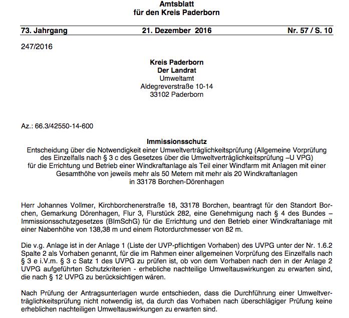 Genehmigung Windkraftanlage Vollmer in Borchen-Dörenhagen