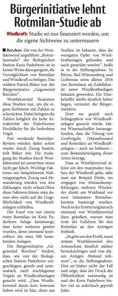 Windenergie Borchen – Bürgerinitiative Gegenwind Borchen lehnt Rotmilan-Studie ab