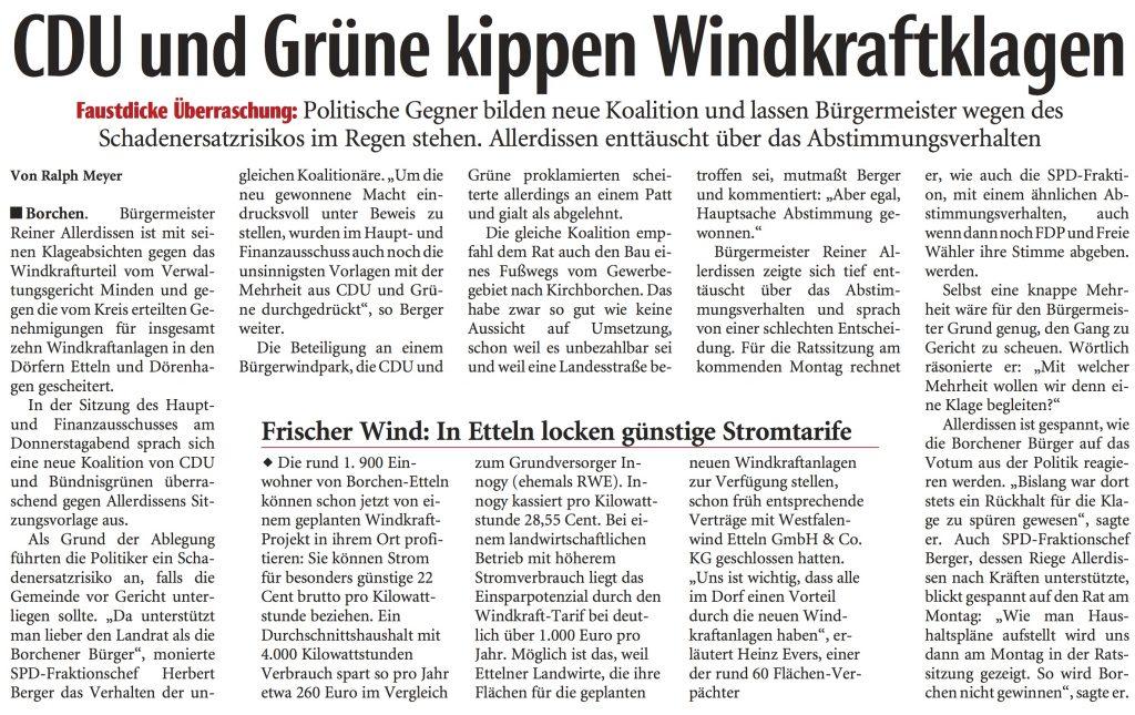 NEue Westfälische Windenergie Borchen: CDU und Grüne kippen Windkraftklagen – wirklich?